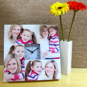 4 Collage White Face Personalized Clock