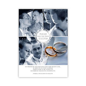 Create My Own Elegant Scroll Collage Save The Date Invitation Cards