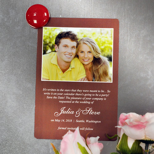 Personalized Chocolate Wedding Announcement Photo Fridge Magnets