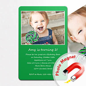 Personalized Green Birthday Invitation Magnets