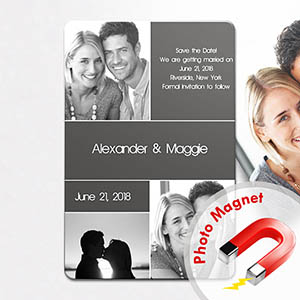 Create Save The Date Magnets, 3 Pictures Collage Grey
