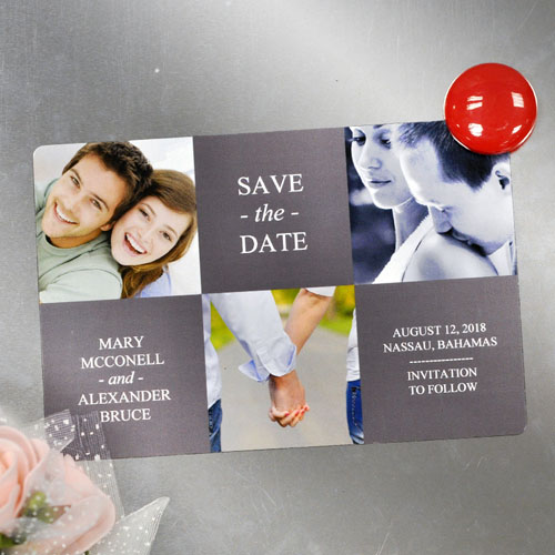 Create Tie The Knot Magnets, 3 Photo Collage Grey