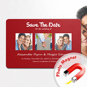 Save the Date Magnets, Puppy Love Red
