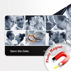 Create Save The Dates Magnets, Black 6 Photo Collage