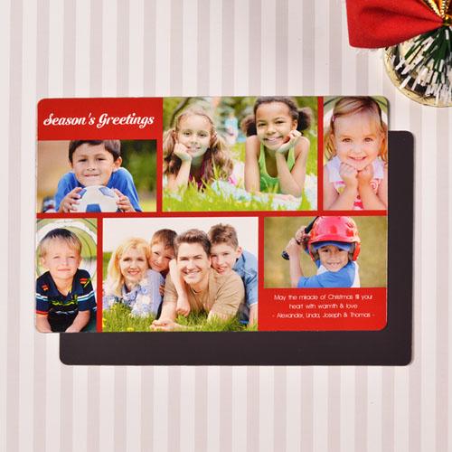 Create 6 Photo Christmas Blessing  Red Fridge Magnets