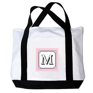 Personalized Simply Pink Monogram Canvas Bag, Black