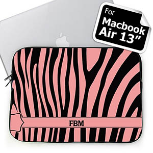 Custom Initials Black & Pink Zebra Pattern  MacBook Air 13 Sleeve
