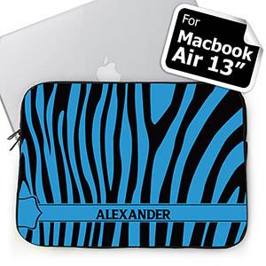 Custom Name Black & Blue Zebra Pattern Macbook Air 13 Sleeve