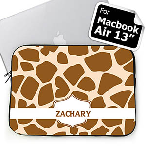 Personalized Name Brown Giraffe Pattern Macbook Air 13 Sleeve