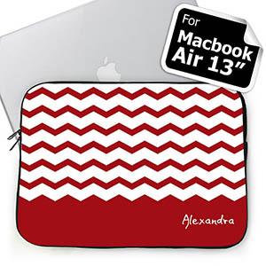 Custom Name Red Chevron Macbook Air 13 Sleeve