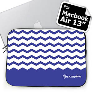 Custom Name Blue Chevron Macbook Air 13 Sleeve
