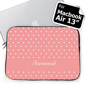Custom Name Pink Polka Dots Macbook Air 13 Sleeve