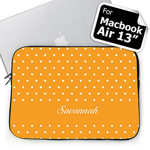 Custom Name Orange Polka Dots MacBook Air 13 Sleeve