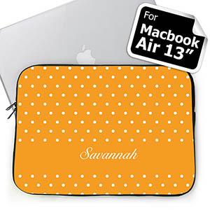 Custom Name Orange Polka Dots Macbook Air 13 Sleeve