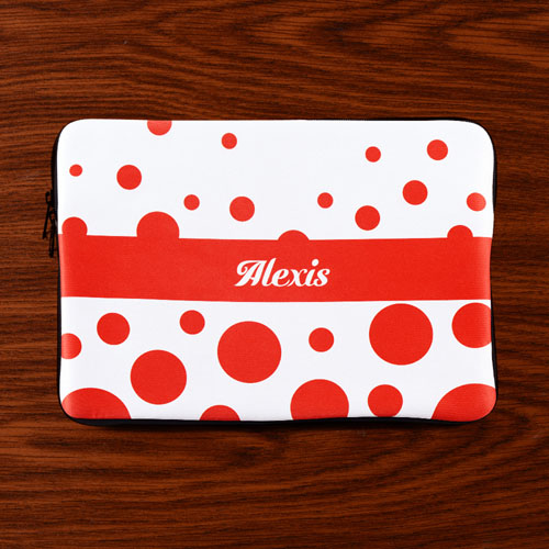 Personalized Initials Red Retro Circles Macbook Air 13 Sleeve