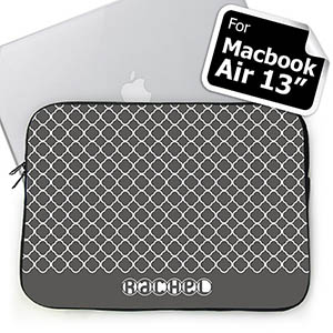 Custom Name Grey Quatrefoil Macbook Air 13 Sleeve