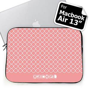 Custom Name Pink Quatrefoil Macbook Air 13 Sleeve