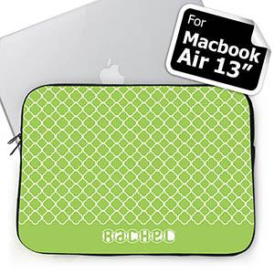 Custom Name Lime Quatrefoil Macbook Air 13 Sleeve