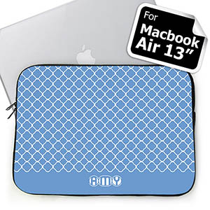 Custom Initials Blue Quatrefoil Macbook Air 13 Sleeve