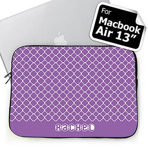Personalized Name Lavender Quatrefoil Macbook Air 13 Sleeve