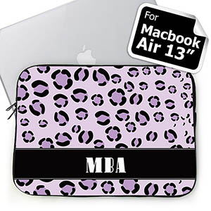 Custom Initials Purple Leopard Pattern Macbook Air 13 Sleeve