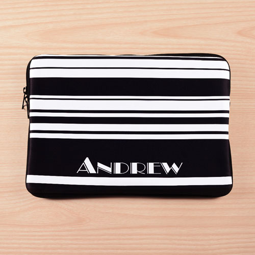 Personalized Initials Black Stripes Macbook Air 13 Sleeve