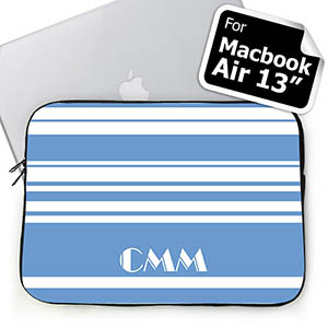 Custom Initials Sky Blue Stripes Macbook Air 13 Sleeve