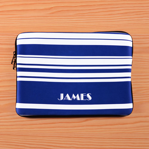 Personalized Name Blue Stripes Macbook Air 13 Sleeve