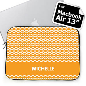 Custom Name Orange Chain Macbook Air 13 Sleeve