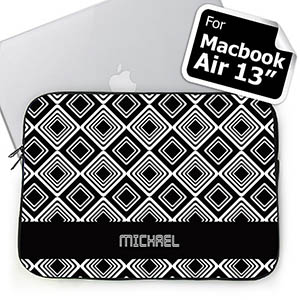 Custom Name Black Diamonds Macbook Air 13 Sleeve