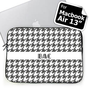 Custom Initials Grey Houndstooth MacBook Air 13 Sleeve