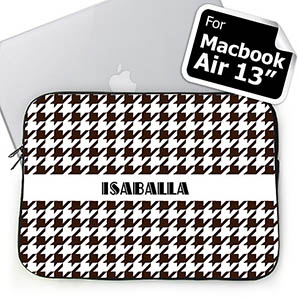 Custom Name Chocolate Houndstooth MacBook Air 13 Sleeve