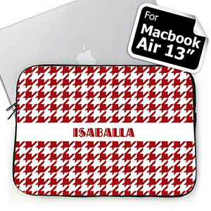 Custom Name Red Hounds Tooth Macbook Air 13 Sleeve