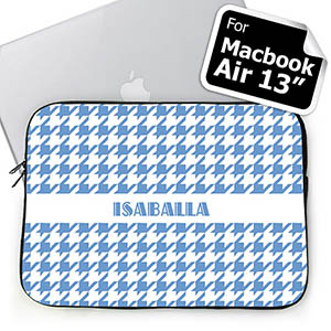 Custom Name Sky Blue Houndstooth MacBook Air 13 Sleeve
