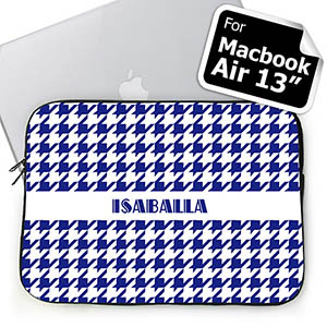 Custom Name Blue Houndstooth MacBook Air 13 Sleeve