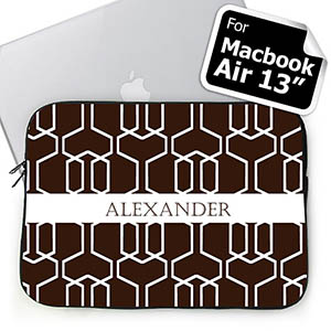 Custom Name Chocolate Trellis Macbook Air 13 Sleeve
