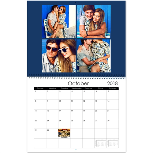 Personalized Simply Blue,, Large Wall Calendar (14