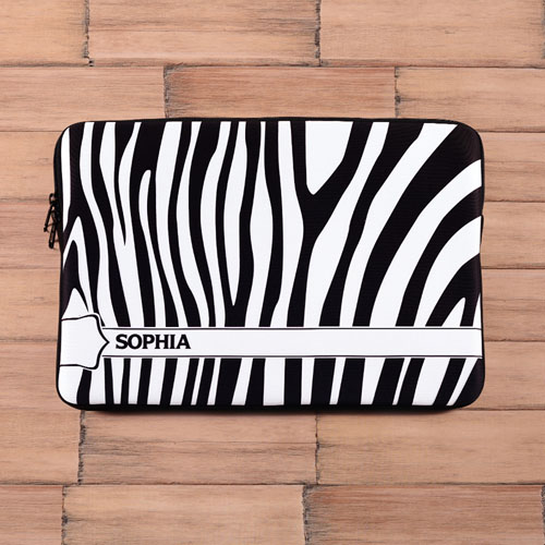 Personalized Name Black & White Zebra Pattern Macbook Pro 15 Sleeve (2015)
