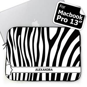 Personalized Name Black & White Zebra Pattern Macbook Pro 13 Sleeve (2015)