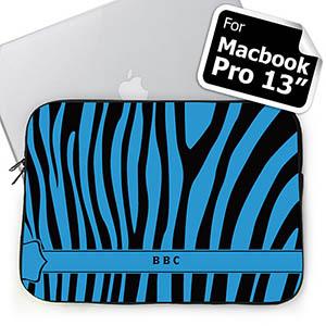 Custom Initials Black & Blue Zebra Pattern Macbook Pro 13 Sleeve