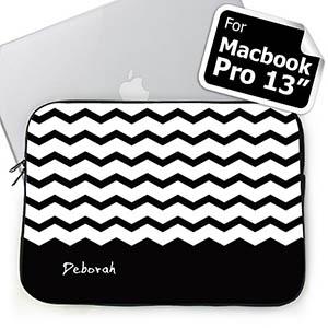 Personalized Name Black Chevron Macbook Pro 13 Sleeve (2015)