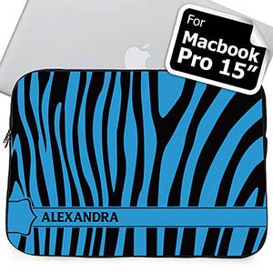 Custom Name Black & Blue Zebra Pattern Macbook Pro 15 Sleeve (2015)