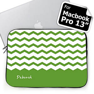 Personalized Name Green Chevron Macbook Pro 13 Sleeve (2015)