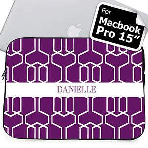 Custom Name Purple Trellis Macbook Pro 15 Sleeve (2015)