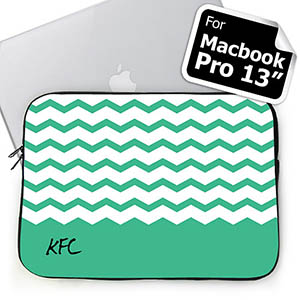 Personalized Initials Mint Chevron Macbook Pro 13 Sleeve (2015)