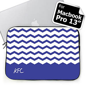 Custom Initials Blue Chevron MacBook Pro 13 Sleeve