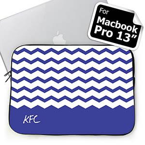 Custom Initials Blue Chevron Macbook Pro 13 Sleeve (2015)