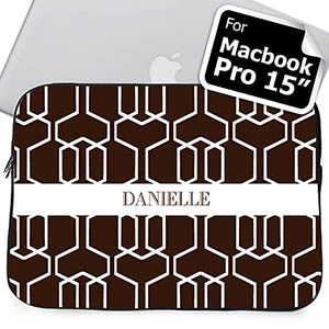 Custom Name Chocolate Trellis Macbook Pro 15 Sleeve (2015)