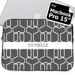 Custom Name Grey Trellis Macbook Pro 15 Sleeve (2015)