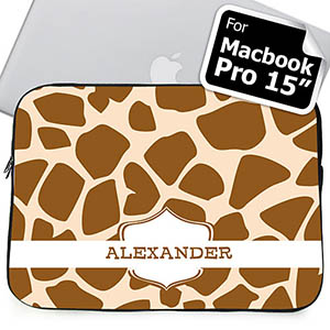 Custom Name Brown Giraffe Pattern MacBook Pro 15 Sleeve